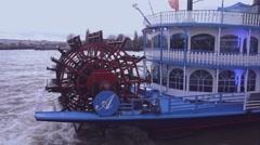 Louisiana Star paddle steamer at Hamburg harbor - stock footage