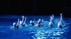 Synchronized swimmers team train before competitions Stock Footage