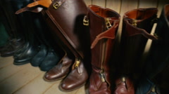 Leather boots for the rider on horseback Stock Footage