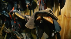 Many different saddles for horses hanging on the wall Stock Footage