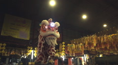 Chinese lion dance performing Stock Footage