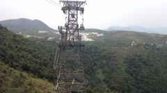 View from the moving gondola of the Ngong Ping 360 cable car, Hong Kong. Stock Footage