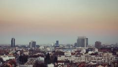 Day to night transition timelapse during winter over the city of Zagreb Stock Footage