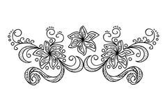 decoration with doodle flowers - stock illustration