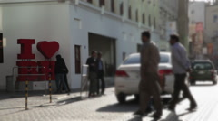Commercial Street in Manama. Bab Al- Bahrain Souk Gate. Stock Footage