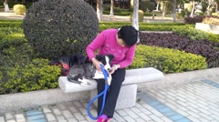 Chinese elderly women and pet dogs Stock Footage
