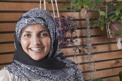Stock Photo of Hispanic woman wearing headscarf