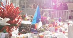 People seen through messages at Place de la Republique monument , Paris, France Stock Footage