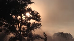 The sun was shrouded in smoke from the explosions in war - stock footage