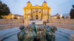 Night falls on The Croatian National Theatre, commonly referred to as HNK - stock footage