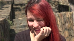 Adorable Smiling Female Teen Redhead Stock Footage