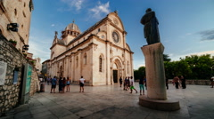 SIBENIK, CROATIA - August 13 2015: The Sibenik Cathedral time lapse Stock Footage