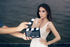 Actress Thinking About Next Line During Movie Shoot - stock photo