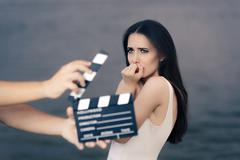 Scared Actress Shooting Movie Scene - stock photo