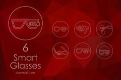 Set of high-tech glasses icons - stock illustration