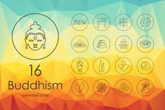 Set of buddhism icons Stock Illustration