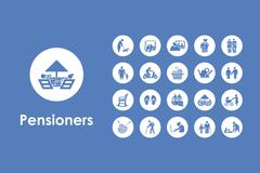 Set of pensioners simple icons - stock illustration