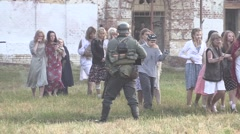 German soldier checks prisoners Stock Footage
