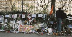 People tribute Bataclan Theatre Paris Stock Footage