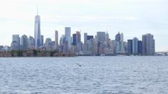 Manhattan Skyline from Liberty Park Stock Footage