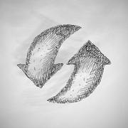arrow recycling icon - stock illustration