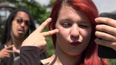 Teen Girl Selfie Photobomb Stock Footage