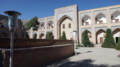 Courtyard of ancient madrasah. Uzbekistan. Khiva Stock Footage