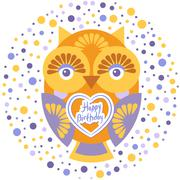 happy birthday, Funny colorful owl on white background card template. Vector - stock illustration