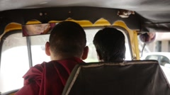 Buddhist Monk travelling by indian rickshaw - stock footage