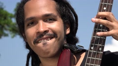Happy African Bass Guitarist Stock Footage