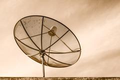 Satellite TV with sky Stock Photos