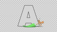 Letter A and Ant (foreground) Stock Footage