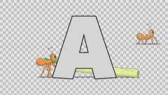 Letter A and Ant (background) Stock Footage