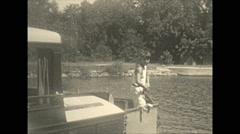 Vintage 16mm film, 1934, Ontario, Kawartha Lakes b-roll shore steamboat Stock Footage