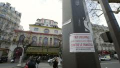 All together against fanatism sticker and Bataclan teather Stock Footage