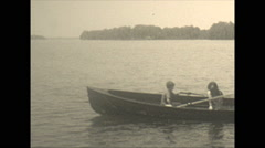 Vintage 16mm film, 1934, Ontario, Kawartha Lakes rowboat Stock Footage