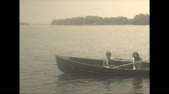 Vintage 16mm film, 1934, Ontario, Kawartha Lakes rowboat - stock footage