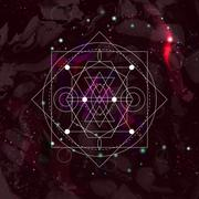 Abstract mystical geometry symbol. Linear alchemy, occult, philosophical sign Stock Illustration