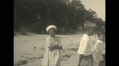 Vintage 16mm film, 1934, Ontario, Kawartha Lakes girls and sailboat Stock Footage