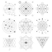 Mystical geometry symbols set. Linear alchemy, occult, philosophical sign. Fo Stock Illustration