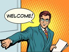 Welcome businessman opens the door Stock Illustration