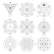 Mystical geometry symbols set. Linear alchemy, occult, philosophical sign. Fo - stock illustration