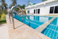 Defocus of pool with blue sky - stock photo