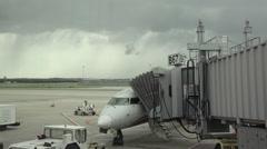 Dulles International Airport aircraft takeoff ramp Washington DC HD Stock Footage