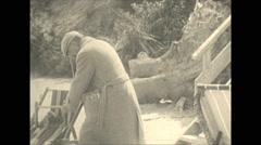 Vintage 16mm film, 1934, Ontario, Kawartha Lakes people on beach, b-roll Stock Footage