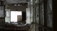 Detroit Ruins: Focus Pull Inside Abandoned Building, Broken Glass. - stock footage