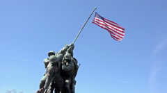 Iwo Jima Memorial Marine Corp close flag Washington DC HD Stock Footage