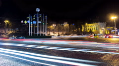 Cars driving on the European Square in Kyiv - stock footage