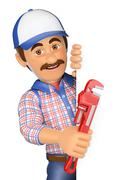 3D Plumber with a pipe wrench pointing aside. Blank space - stock illustration