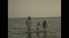 Vintage 16mm film, 1934, Ontario, Kawartha Lakes people on beach Stock Footage